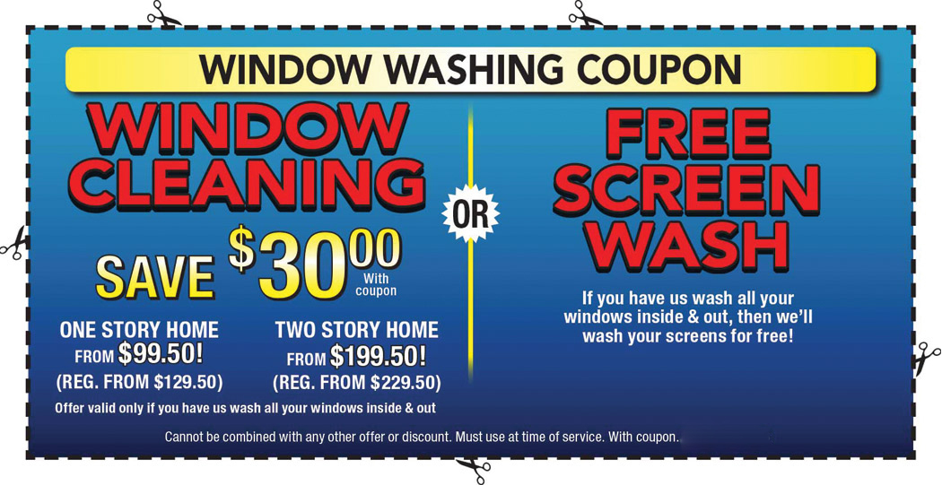 Coupons On Window Cleaning Washing Screen Replacement